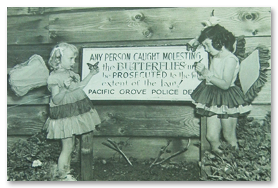 1935 Girls Standing in Front of Butterfly Ordinance Sign